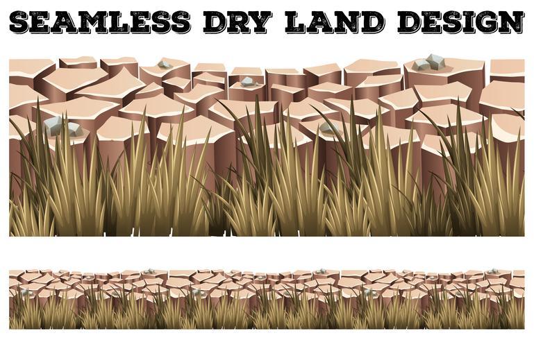 Terra seca sem costura com grama vetor