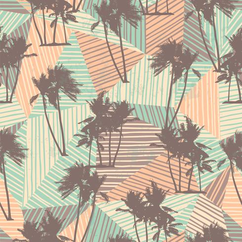 Seamless exotic pattern with tropical palms and geometric background. vector
