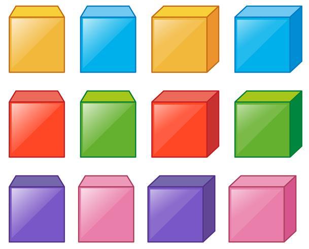 Cajas de cubos diferentes en muchos colores.