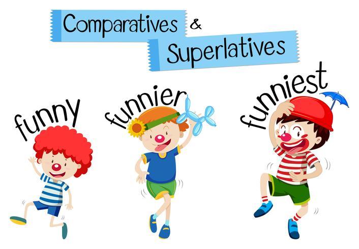 Comparatives und Superlative Wort für lustig
