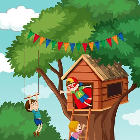 Enfants jouant dans la maison de l'arbre vecteur