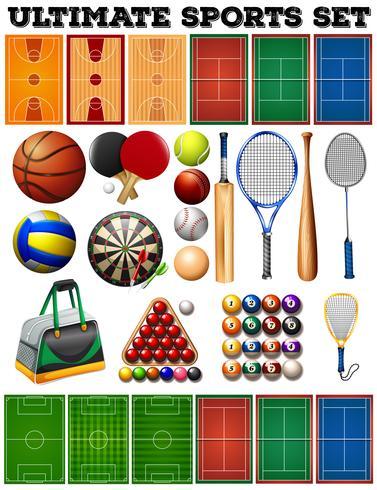 Sportutrustning och domstolar vektor