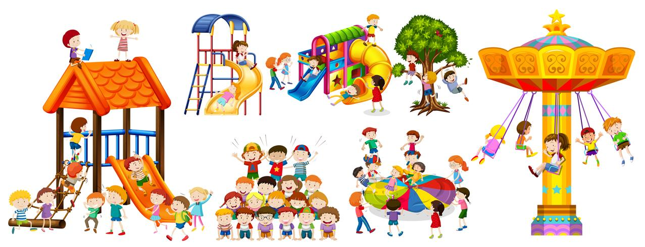 Feliz, crianças, tocando, em, a, pátio recreio