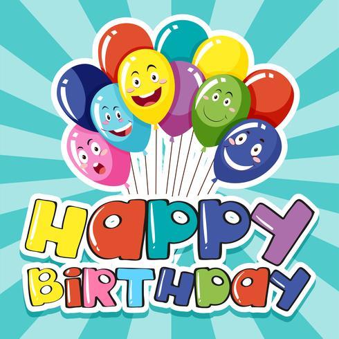 Grattis på födelsedagen kort mall med färgglada ballonger