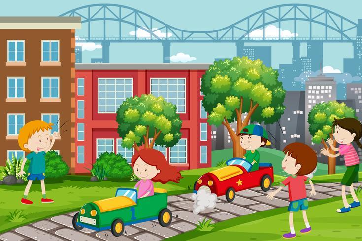 Los niños compiten en karts. vector