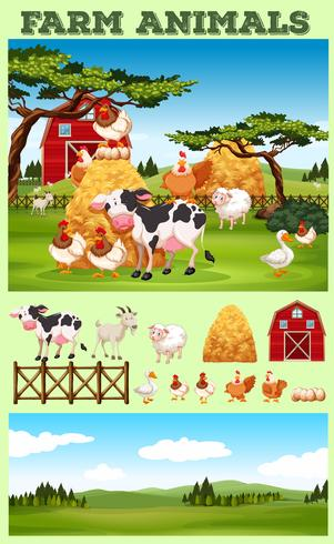 Tema de granja con animales y campo. vector