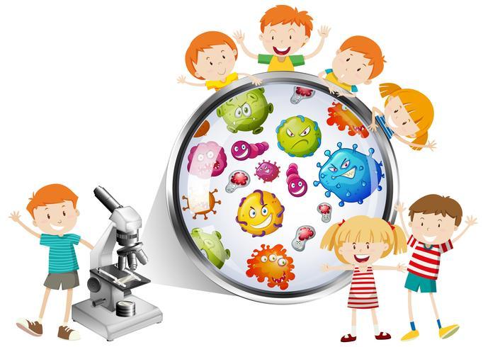 Kinderen die bacteriën van microscoop bekijken