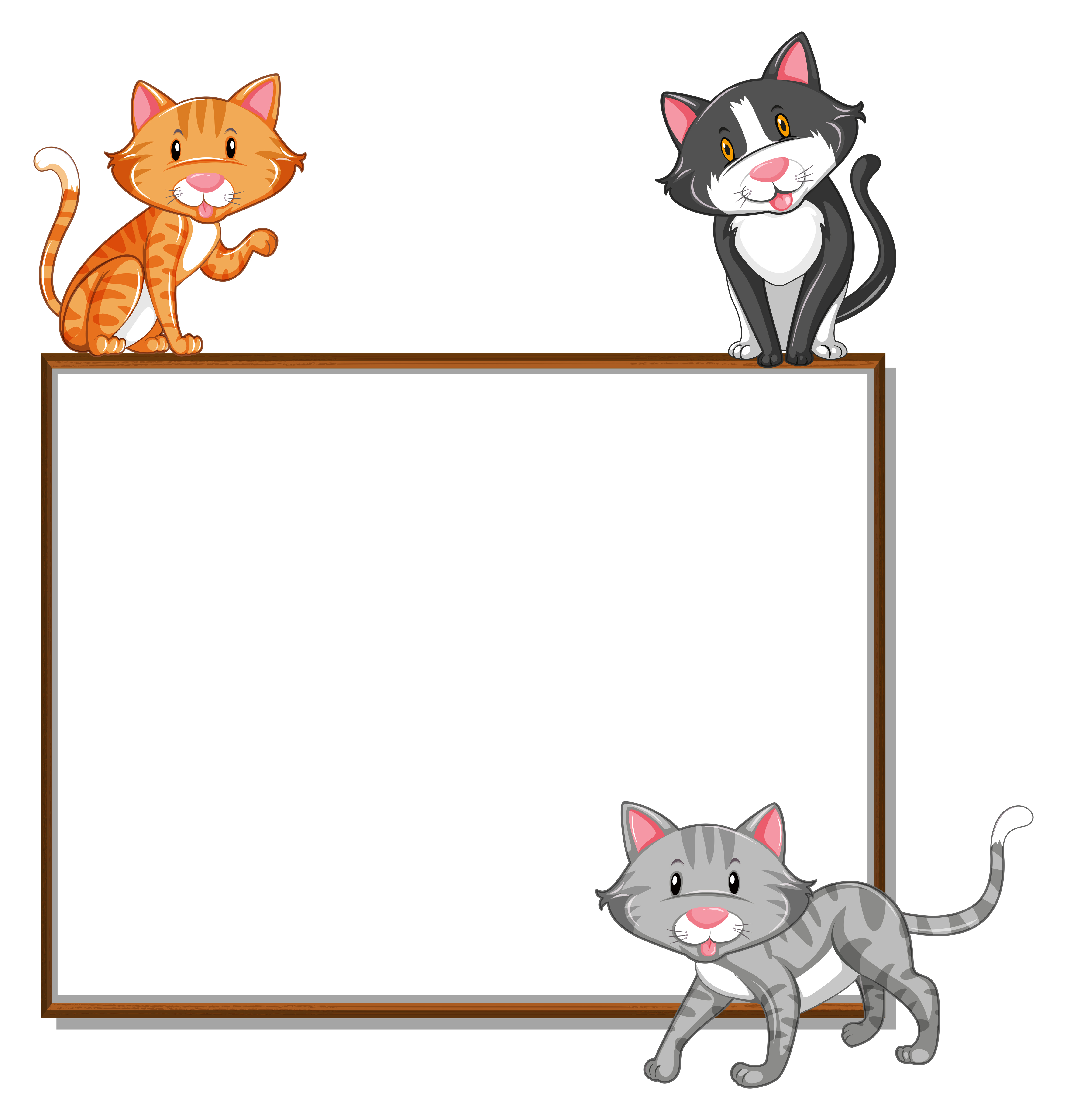 Border Template With Three Cats Download Free Vectors