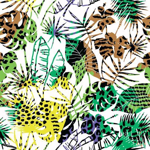 Sin fisuras patrón exótico con plantas tropicales. vector