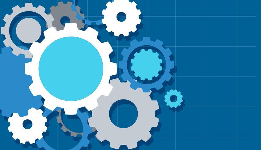 Diseño de fondo con engranajes azules vector