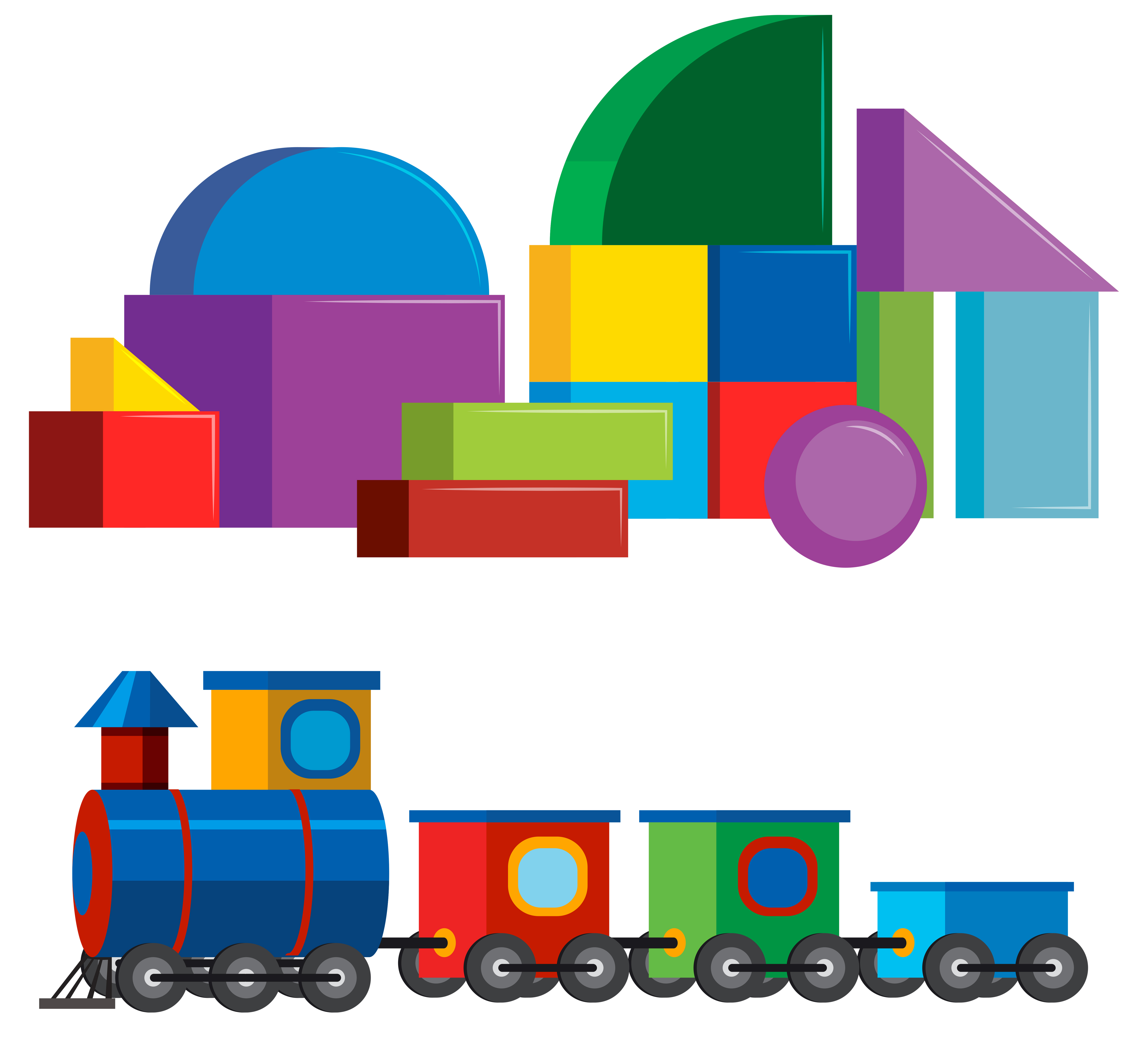 Colourful Children Toys on White Background - Download ...