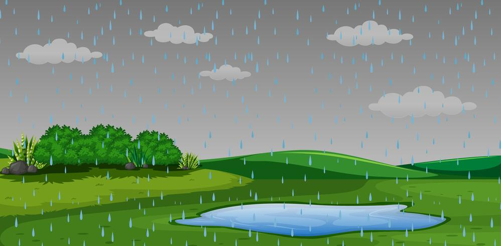 Raining outdor park scen vektor