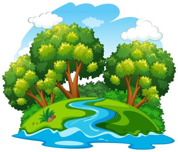 Uma paisagem natural do rio vetor