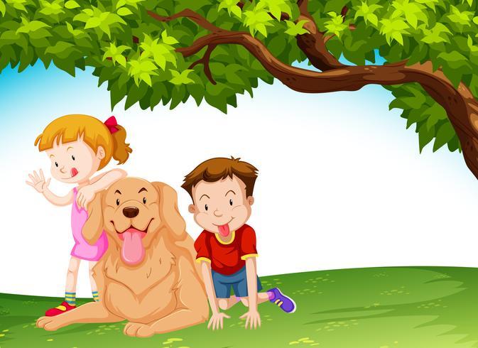 Niños y un perro en el parque.