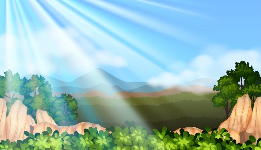 Escena de fondo con luz solar en el cielo vector