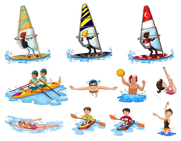 Different kinds of water sports