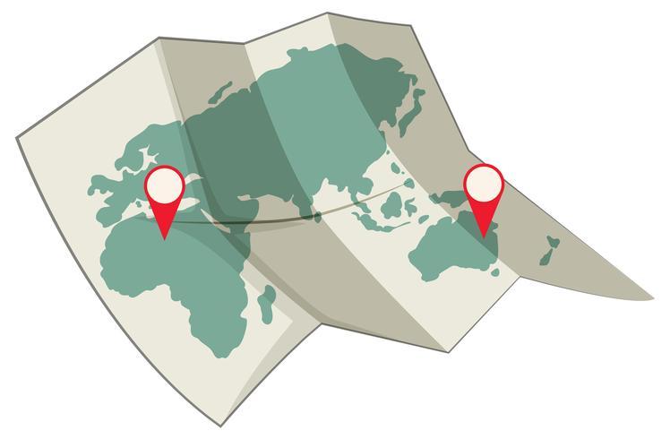 Karta över världens destinationskoncept