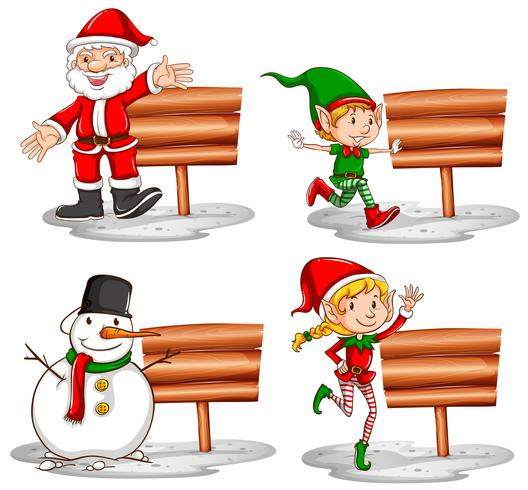 Tema de Natal com sinais de madeira e personagens