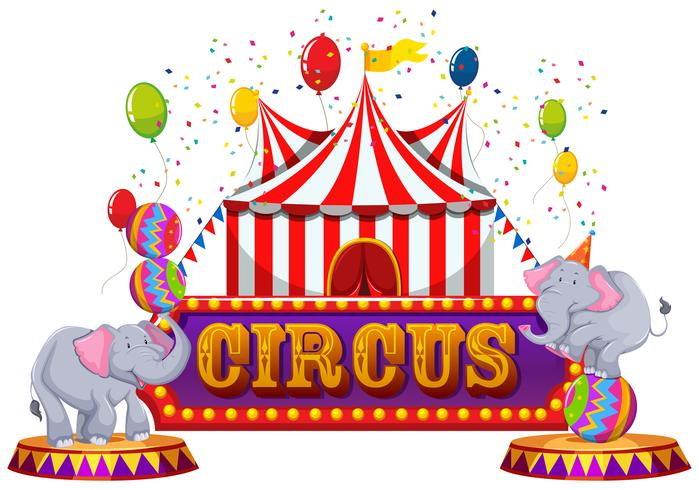 Un circo divertido y un animal feliz vector