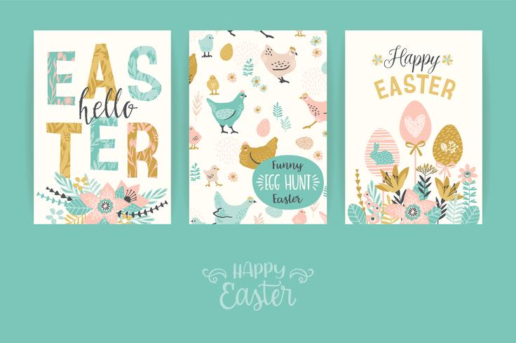 Happy Easter. Vector templates for card, poster, flyer and other users.