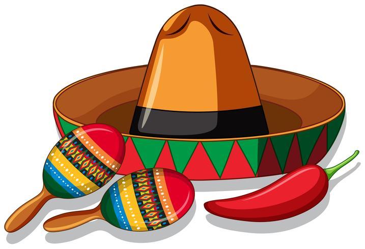 Mexicaanse hoed en maracas op witte achtergrond