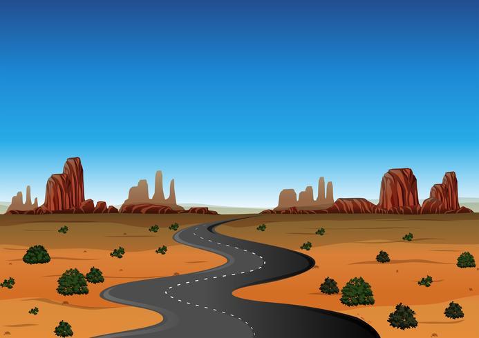 Cena do deserto com estrada vazia