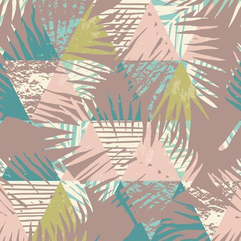 Sin fisuras patrón exótico con plantas tropicales y fondo geométrico. vector