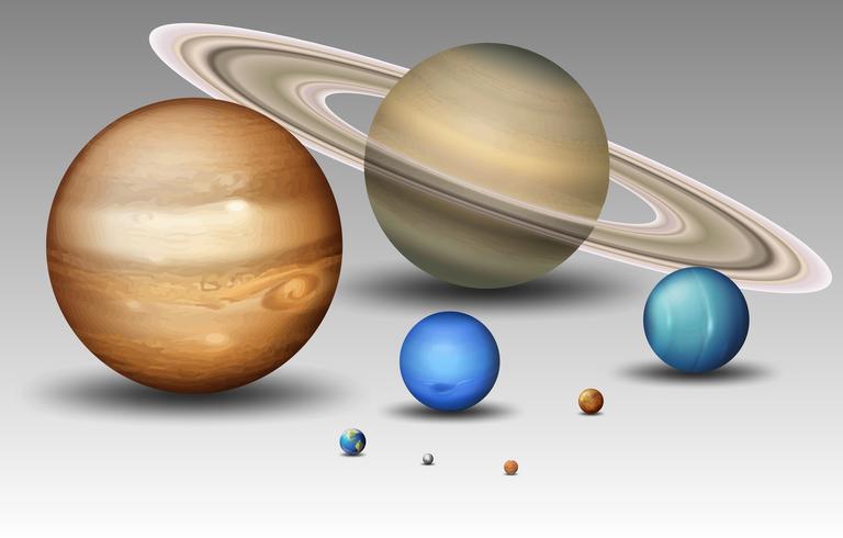 Set av solsystem planet