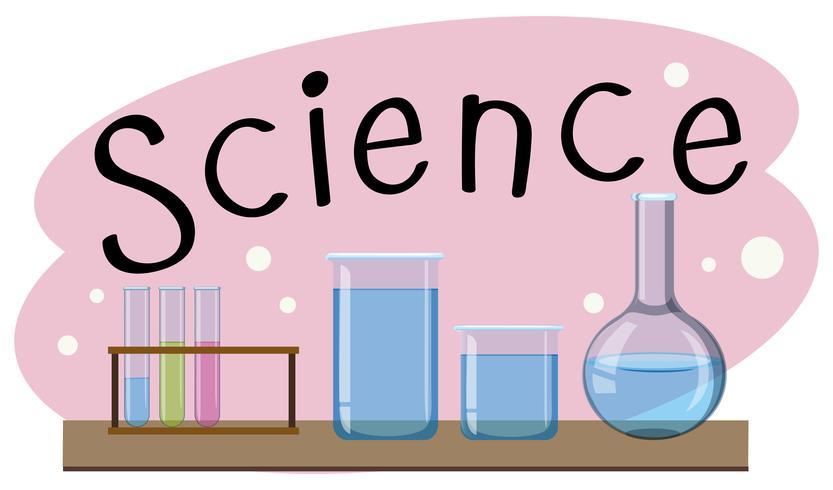 Materia escolar para la ciencia con muchos equipos en laboratorio.