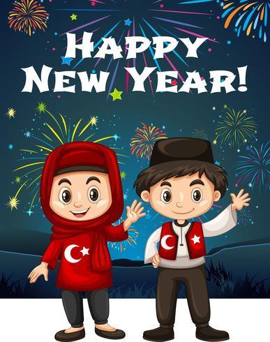 Niños turcos en tarjeta de año nuevo vector