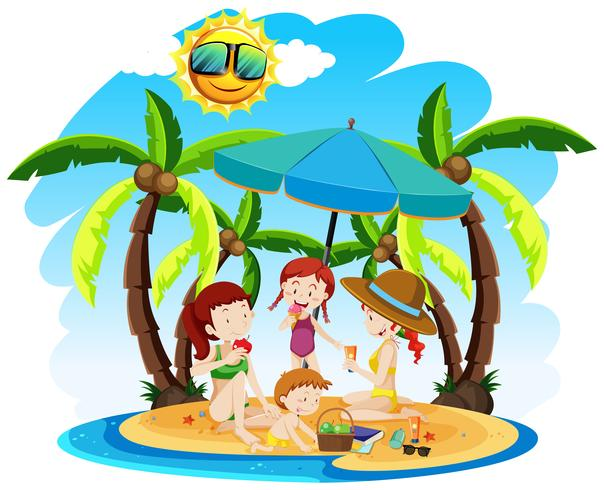 Una familia en vacaciones de verano vector