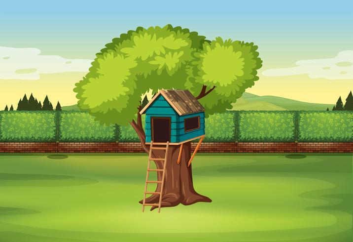 Una casa de arbol en la naturaleza vector