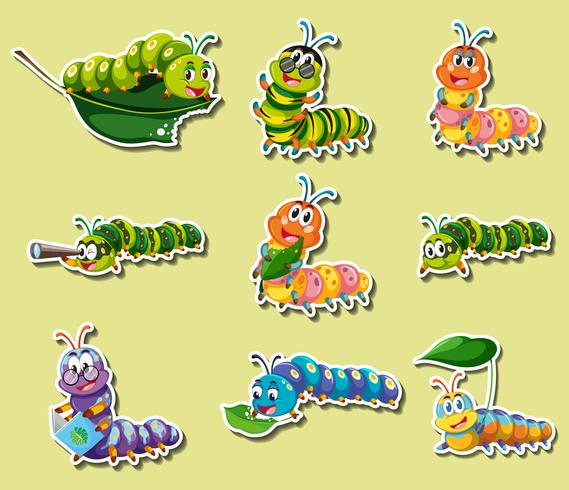 Conjunto de adesivos com lagartas de cores diferentes vetor
