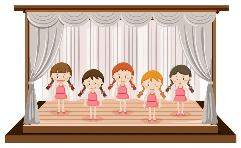 Girls perform ballet on stage vector