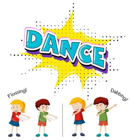 Crianças com diferentes movimentos de dança vetor
