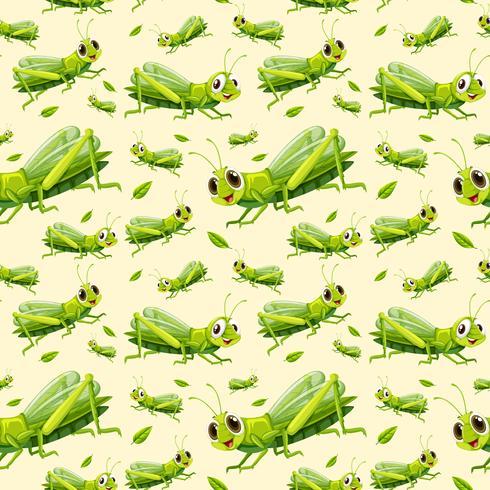 Green grasshopper seamless background