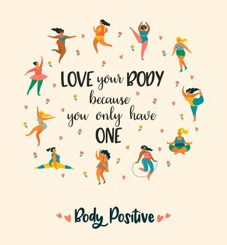 Cuerpo positivo. Felices chicas de talla grande y estilo de vida activo y saludable. vector