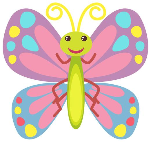 Papillon coloré avec visage heureux vecteur