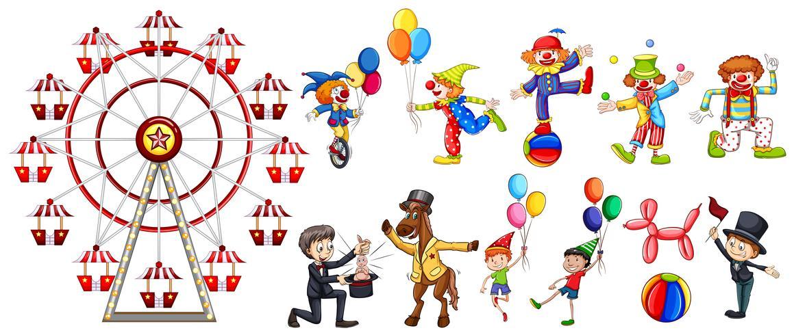 Eine Reihe von Zirkusfigur