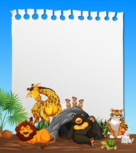 Un papel de nota con tema de animales