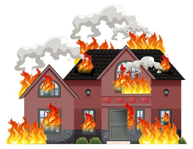Una casa moderna en llamas. vector