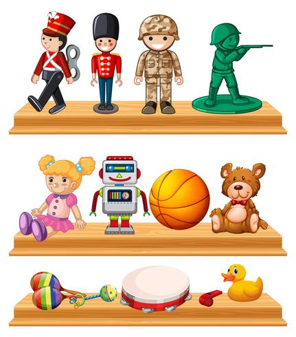 Muitos brinquedos nas prateleiras de madeira vetor
