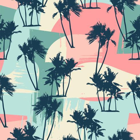 Sin fisuras patrón exótico con palmeras tropicales y antecedentes artísticos. vector