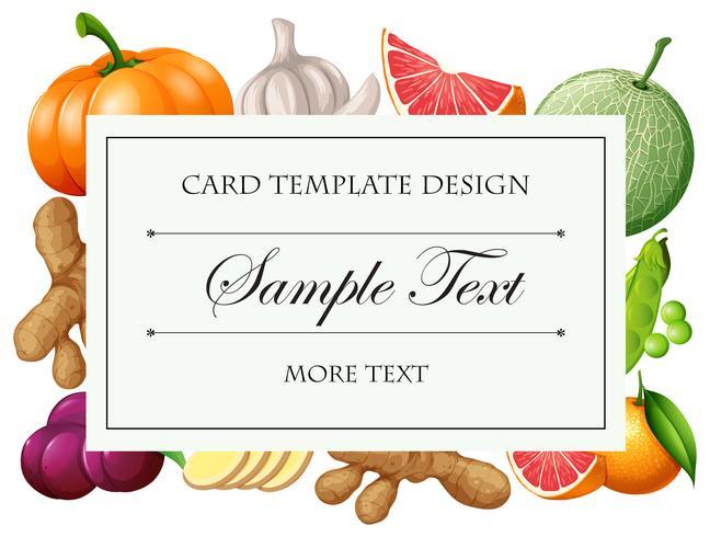 Kartenvorlage mit Gemüse und Früchten