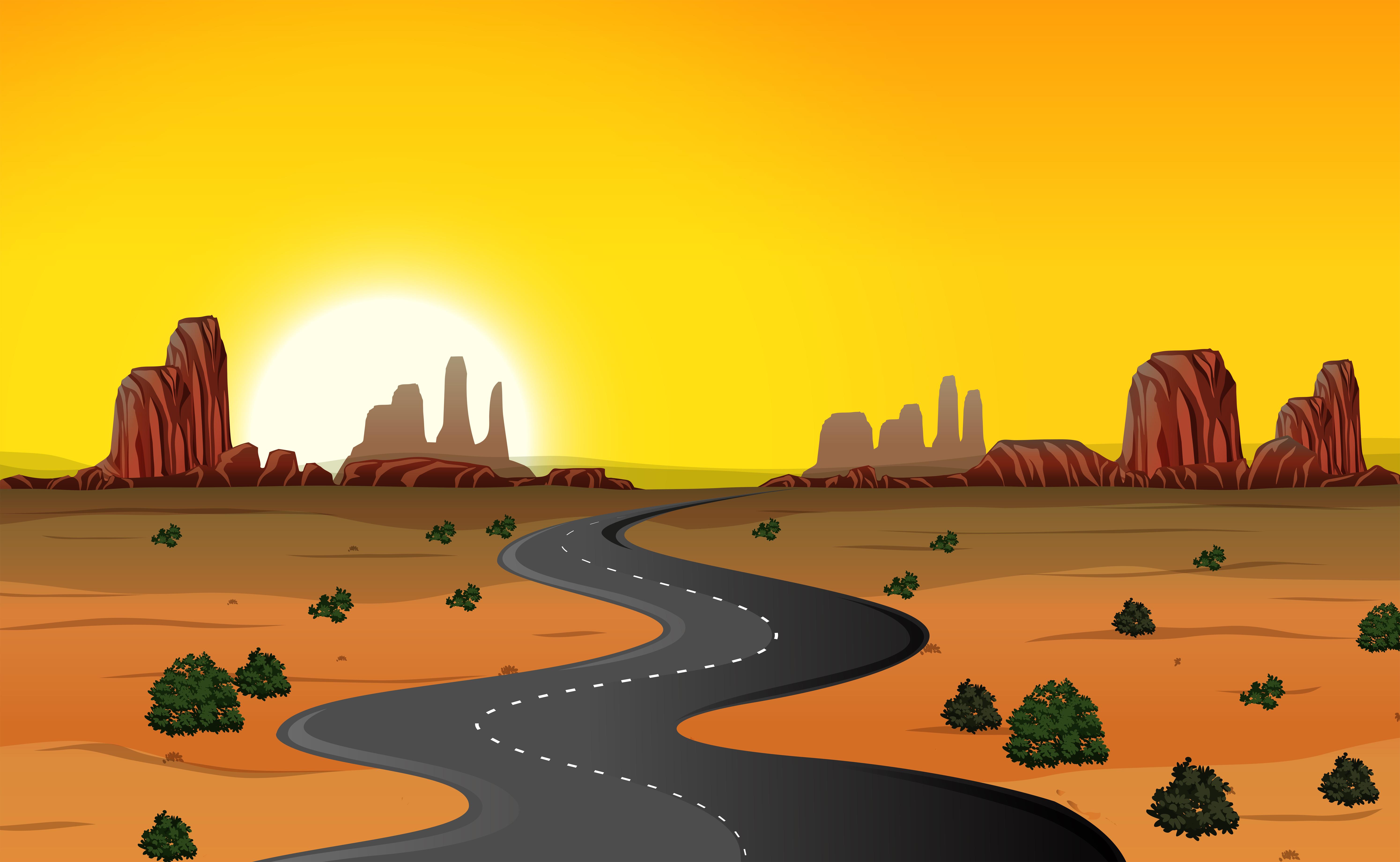 A desert road background - Download Free Vectors, Clipart ...