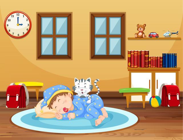 Un bebé durmiendo en casa vector
