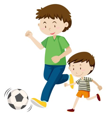 Father and son playing soccer vector