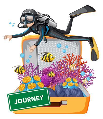 Bucear bajo el agua en la maleta.