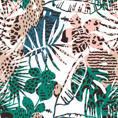 Trendy seamless exotic pattern with palm, animal prints and hand drawn textures. vector
