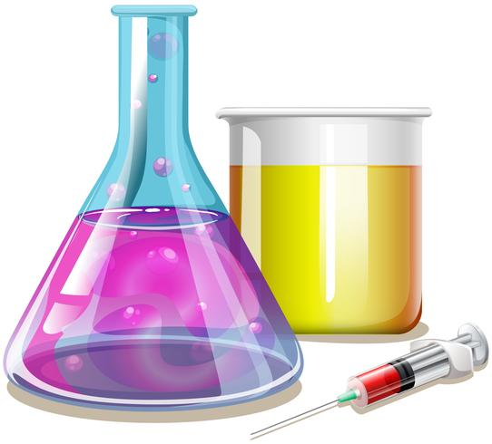 Producto químico en vasos de vidrio.